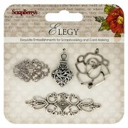 Metall Charms Scrapberrys - Elegy - 4 st