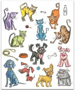 Cling Stamp Mini - Crazy Cats & Dogs - Tim Holtz