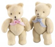 Flocked Bear Baby 2 st - Nallar med Rosett 50x30 mm