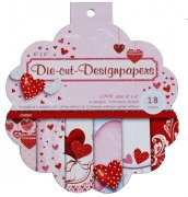 "Paper Pad 6""x6""- Die Cut Designpapers 18 ark - Love With Glitter"