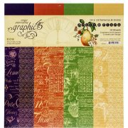Paper Pack Graphic 45 - Fruit & Flora - Patterns & Solids
