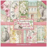 Paper Pack Stamperia - Orchids and Cats - 12x12 Tum