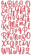 Alfabet Stickers - Sweetheart Script Red Glitter