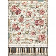 Rispapper A3 Stamperia - Passion - Roses and Piano
