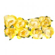 Paper Rose 20mm - Scrapberry's - 8 st Yellow