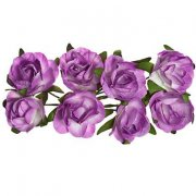 Paper Rose 20mm - Scrapberry's - 8 st Purple & White