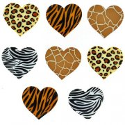 Knappar Figurer - Safari Hearts 6 st