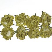Curly Rose 30mm - Scrapberry's - 8 st Olive Green