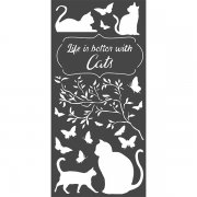 Schablon Stamperia - Orchids and Cats - Life Is Better With Cats
