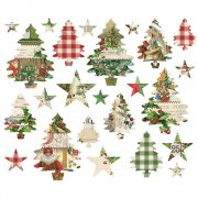 Simple Stories Die cuts - Simple Vintage Christmas - Trees and Stars