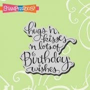 Cling Rubber Stamp - Hugs, Kisses, Wishes - Stampendous