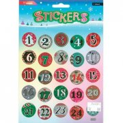 Stickers - Julkalender Siffror - Advent - 15 x 16,5 cm