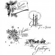 Tim Holtz Cling Stamps 7X8.5 - Holiday Greetings