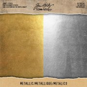 "Paper Stash 8""x8"" Tim Holtz - Metallic Gold & Silver - 36 ark"