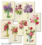 Vintage Bilder - Die Cuts - Flowers In a Vase - 24 ark