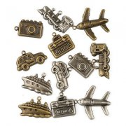 Charms Set Travel - 12 st - Antique Brass och Silver