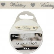 Satinband Wedding 10mm - Off White 8 meter - Happy Moments