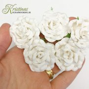 Mulberry Curly XL Rose - 45 mm - White 5 st