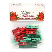 Winter Blooms Klädnypor - 35 Mini Pegs - Christmas Green and Red