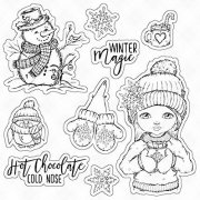 Stämpel Vinter Winter Clearstamps Flicka