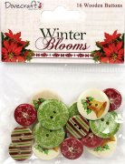 Winter Blooms - Wooden Buttons - 16 st Knappar
