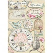 Wooden Die Cuts Stamperia - Orchids and Cats - Clock and Labels