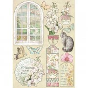 Wooden Die Cuts Stamperia - Orchids and Cats - Window, Orchids & Cats
