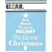 "Schablon - Clear Scraps 6""x6"" - Word Xmas Tree"