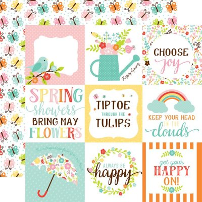 "Papper Echo Park - Hello Spring - 4""X4"" Journaling Cards/Butterflies"