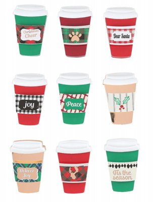 3D Stickers - Christmas Cheer Coffee Cup - 9 st