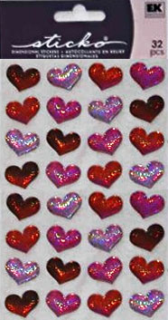Stickers Red Bubble Hearts 32 st