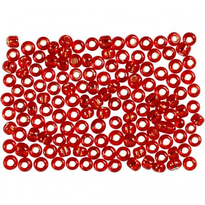 Seed Beads 3 mm - Röd Metallic - 500 gram