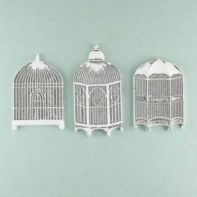 Shabby Chic Metal - Three Bird Cages