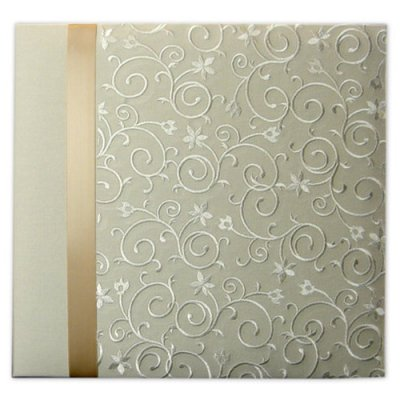 "Album 12""x12"" - Scroll Embroider With Ribon Ivory"