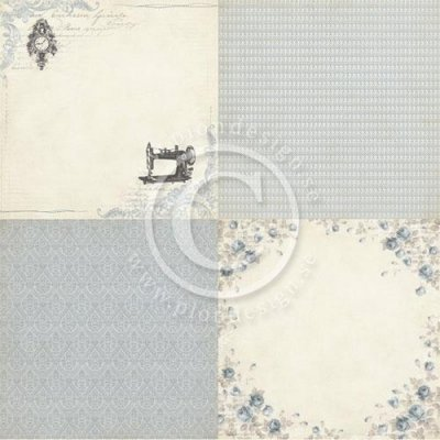 "Papper Pion Design - Alma's Sewing Room - Blue Room - 6""x6"" - 4 Delar"