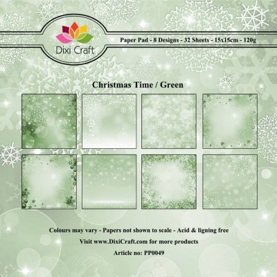 Paper Pad Dixi Craft 6x6 - Christmas Time - Grön - 32 ark