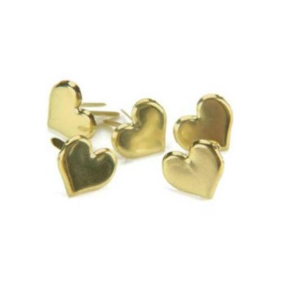 Brads 50 st Gold Hearts - 15 mm