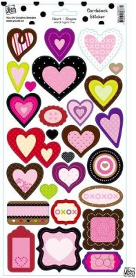Stickers Cardstock Heart Shapes Glitter