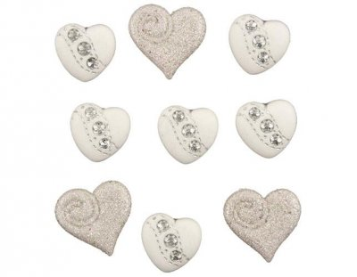 Knappar Figurer - I Do - Wedding Hearts 9 st