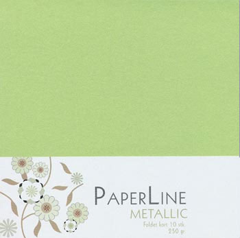 Kort 145x145 - Metallic Pärlemo Lime - 10-pack