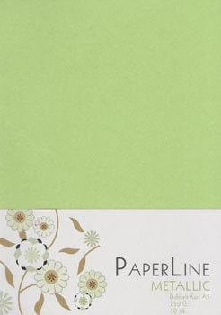 Metallic A4 120g Papper - Paper Line Lime 10-pack
