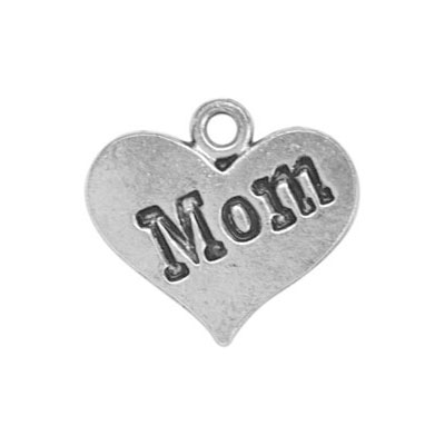 Charms 2 st - Heart Mom 10mm