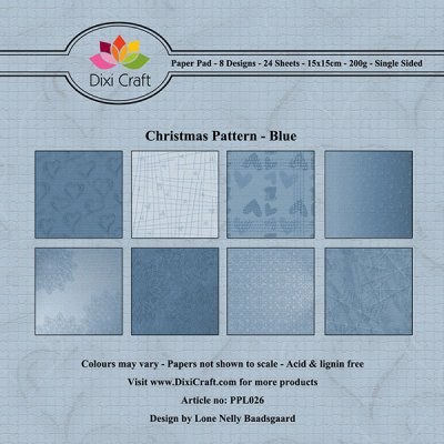 Paper Pad Dixi Craft 6x6 - Christmas Pattern Blue - 24 ark