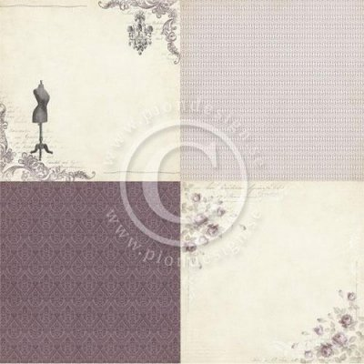 "Papper Pion Design - Alma's Sewing Room - Purple room - 6""x6"" - 4 Delar"