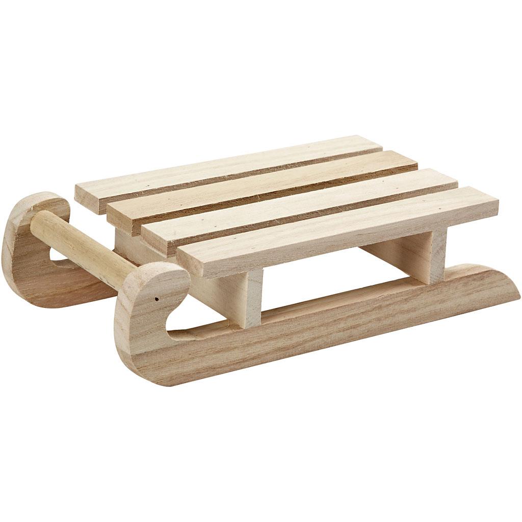 Kälke 19,5 x 10×5 cm Kejsarträd Möbler Miniatyr Göra Figurer Hobby Pyssel DIY  # Fabriquer Un Traineau De Noel En Bois