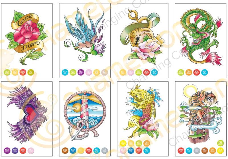Chameleon Color Cards 10x15 - Tattoo - Målarböcker för vuxna ... b766ef54cacb3